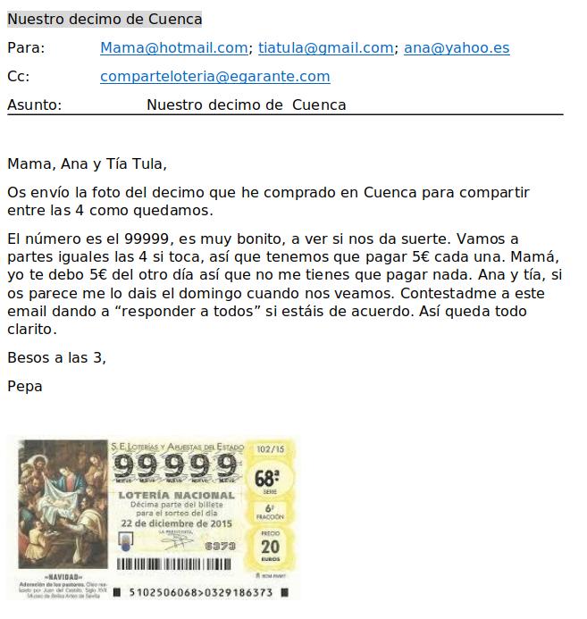 Comparte la lotería con eGarante con un email que incluya los detalles